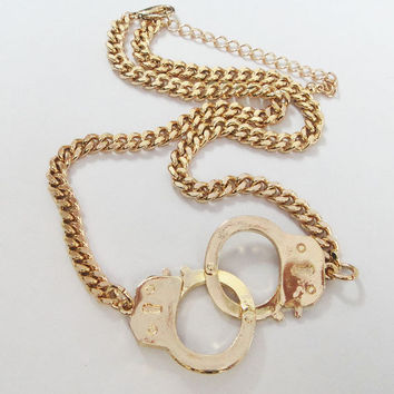 Handcuffs Necklace / Bigger Size Handcuffs / 2 Colors Available / Silver and Gold