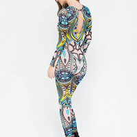 Rompers Womens Jumpsuit Sexy Geometric Printing Bodysuit