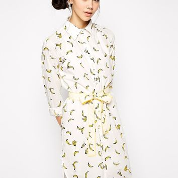 Sonia by Sonia Rykiel Shirt Dress in Banana Print