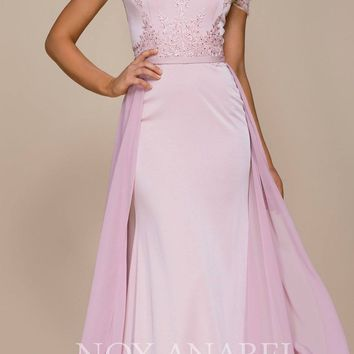 Embroidered Off Shoulder Evening Gown with Chiffon Overlay Blush