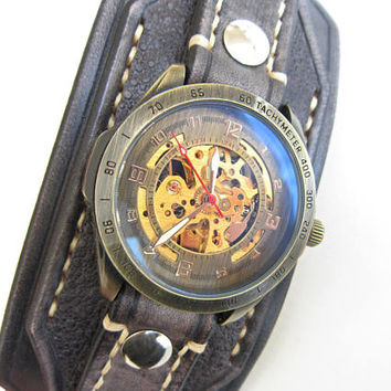 Leather Cuff Watch, Watch Band, Leather Bracelet