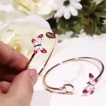 Gucci Logo Red Butterfly Women Carbon Aaaa Masonry Bracelet Hand Chain In 18k Gold Plating S925 Silver   Best Deal Online