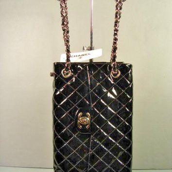 Chanel Black Quilted Patent Leather Sideways 2.55 Flap Bag Small Tote Purse NEW
