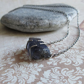 Raw Iolite Necklace, Iolite Pendant Necklace, Rustic Jewelry, Natural Rough Iolite Gemstone, 925 Sterling Silver