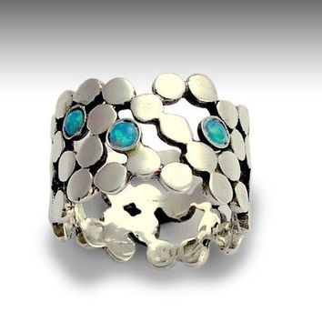 Sterling silver dotted ring inlaid lab grown blue by artisanlook