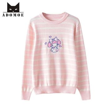 2017 Autumn and Winter Women's Sweater Knitwear Pink Striped Soft sister Lovely Cute College Japanese Teens Girl Sweet Sweaters