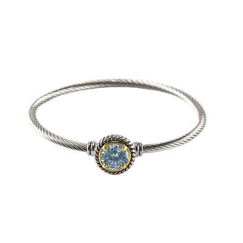 Chartral Clear Crystal Silver Cable Bangle Bracelet