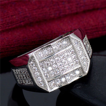 LUCKY YEAR Silver Color Ring for Men Vintage Jewelry Crystal Anel Masculino Joias Engagement Wedding Rings bague homme