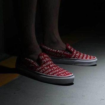 VONEO5 VANS x SUPREME x TNF Slip-On XH66 red Sneaker Casual Shoes
