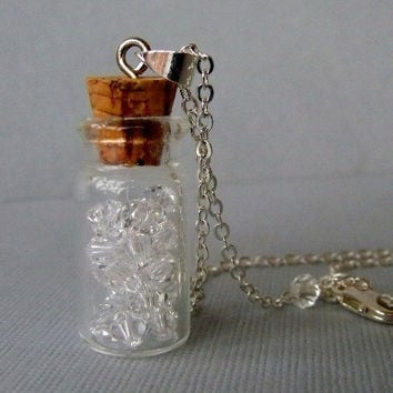 Glass Bottle Pendant Necklace With Swarovski by pinkingedgedesigns
