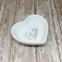 Gold or Magenta Pink Fancy Love Heart Ring Dish