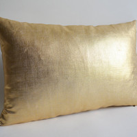 Sukan / 1 Gold Lumbar Linen Pillow Cover - Lumbar Pillow Cover Accent Pillow Decorative PIllow Cushion Cover 16 x 24 Inches