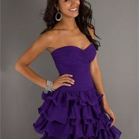 Sweetheart Ball Gown open back purple Mini with Ruche Prom Dress PD0245