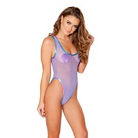 Lavender Mesh & Holographic Trim Baywatch Rave Bodysuit