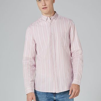 Pink Button Down Stripe Shirt | Topman