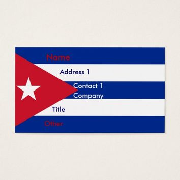 Business Card with Flag of Cuba