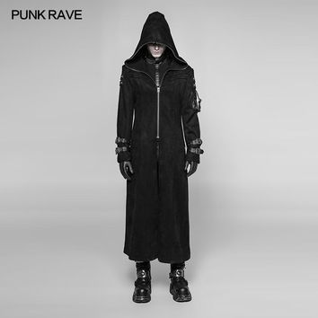 2018 Punk Rave Rock Gothic Fashion Steampunk Visual Kei Pu Men's Long Coat Jacket Hoodie Cosplay WY933