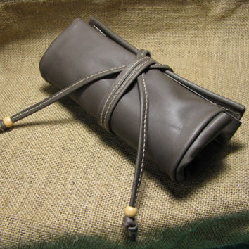Hand Stitched Leather Cosmetic Bag/Pen case