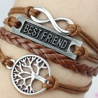 Bracelet Infinity Tree Best Friend Silver Charm Brown wax cord Brown Pu Leather