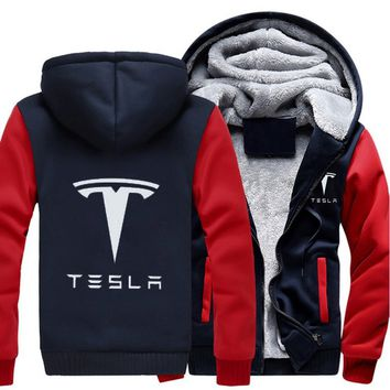 Men Women Tesla Car Logo Zipper Hoodie