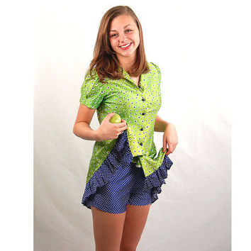 Vintage 1970s shorts set lime green and blue by vintagerunway