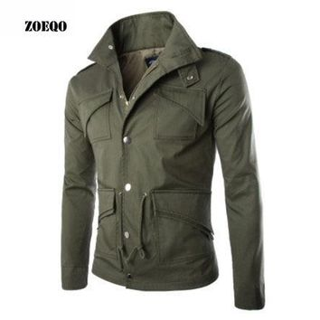 Trendy ZOEQO NEW high-quality  military jacket British style temperament Slim large size mens jackets army Multi-pocket cotton jacket AT_94_13