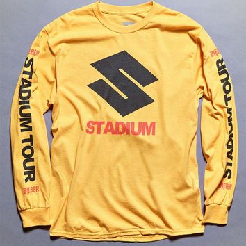 DCCKJH6 Justin Bieber Stadium Tour S Gold Long Sleeve T-Shirt