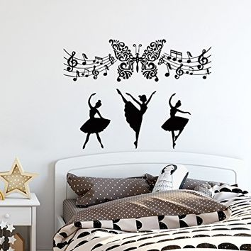 Music Wall Decals Ballerina Decal Vinyl Sticker Musical Notes School Studio Home Decor Bedroom Dorm Living Room Art Murals MN648