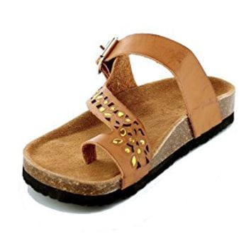 Women's Casual Cut Out Ring Toe Rhinestone Sandals Thong Flip Flop Sandals Cork Slides Slippers