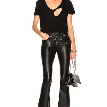 Unravel Lace Front Crop Flare Leather Pants in Black | FWRD