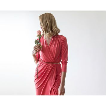 Coral long sleeves tulip wrap maxi dress SALE 1034
