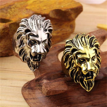 Stainless Steel Lions Head Ring Mens Vintage Cool Ring American Size 8-10