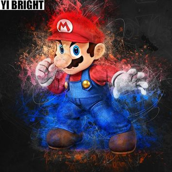 """Super Mario party nes switch Diamond Painting Needlework Full Diamond """""""" Video Game Embroidery Cube Decorate Rhinestones Mosaic Decorate Gifts GT AT_80_8"""