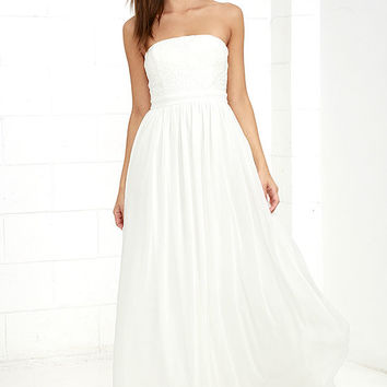 Forever Lovely White Strapless Embroidered Maxi Dress