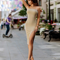 Nude Tube Dress with Side Split
