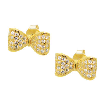 Children's Gold Plated Sterling Silver White Cubic Zirconia Bow Tie Ribbon Stud Earrings