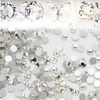 1440pcs/lot Nail Art Rhinestones White Crystal Clear Flatback Non Hotfix DIY Tips Sticker Beads Nail Jewelry Accessory NR01