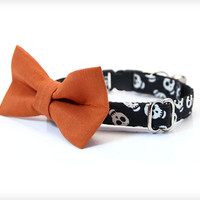 "Halloween Bow Tie Collar Set - ""Skeleton Dance"" - Glow in the Dark Skull Collar + Orange Detachable Bow Tie"