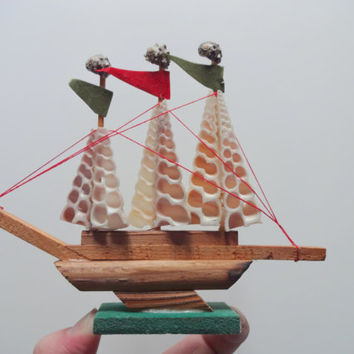 Vintage Miniature Seashell Ship 1970s