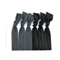 Neutral Hair Ties (6) Charcoal & Black Satin Elastic Hair Tie Set - Workout Hair Accessories - Great Ponytail Holders For Gym or Office