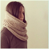 Chunky Cowl Scarf Taupe Tan Crochet Knitted Look Knit Scarf Infinity