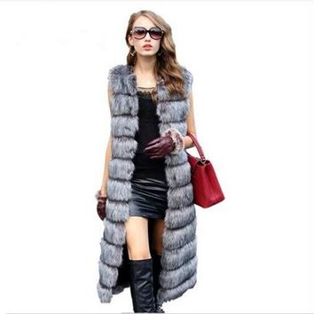 2017 Brand Long Fur Vest Winter Women Luxury Faux Fox Fur Vest Furry Slim Women's Fake Fur Vest Plus Size Faux Fur High Quality