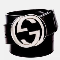 DCCKLO8 GUCCI Leather GG black Leather Logo Belt!