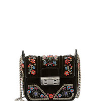 Lanvin Crystal-Embellished Suede Shoulder Bag, Black