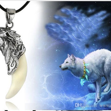 Silver Wolf- dog Titanium-Steel-Tooth-Pendant-Necklace - D
