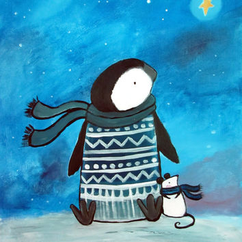 Penguin and Mouse Friends Wishing Star Kids Wall Art, Original Painting for Children, Nursery Decor, Blue Painting