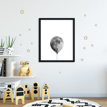 Moon poster, The Moon, La luna, Ballon, Surreal Moon, Wall Decor, Trendy, Modern, Black and white, 4 sizes, Digital download, Printable Art