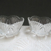 Vintage Pressed Glass EAPG McKee Glass Bowls Set of Two Small Fan Shaped Bowls Hickman Clear Pattern 132 Antique Bowl