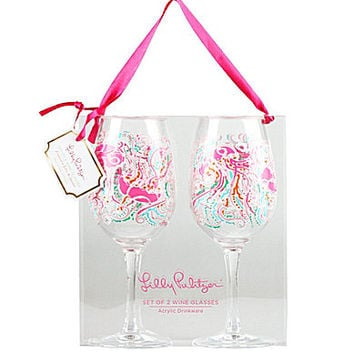 Lilly Pulitzer Jellies Be Jammin Wine Glass, Set of 2