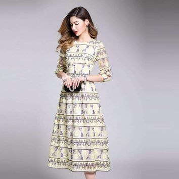 Womens Three-Quarter-Sleeve Horneck Slim mid-calf-length Dress